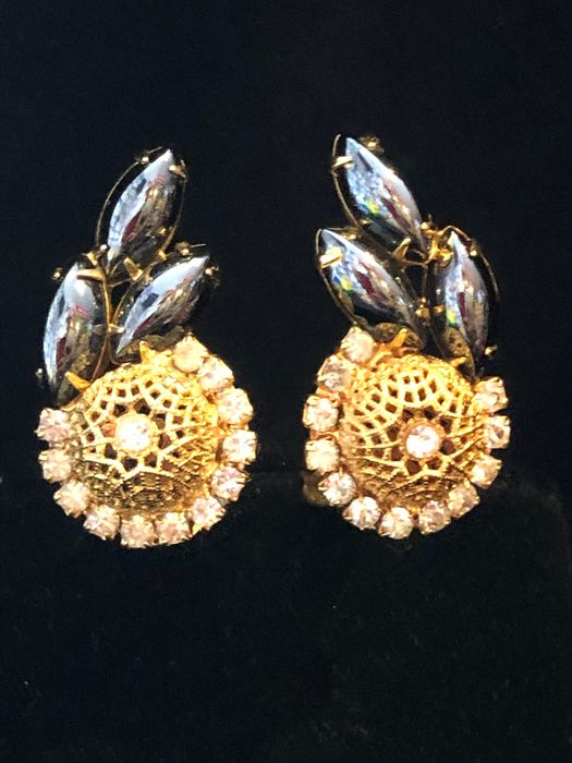 Gold-plated - vintage Art Deco style MAZER BROS Jomaz crystal earrings