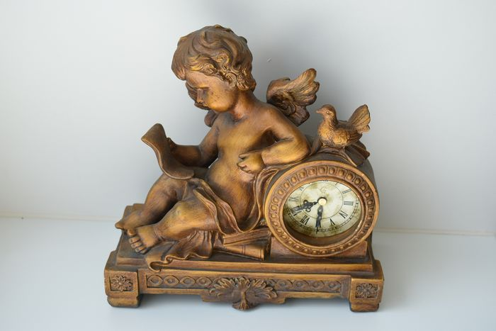 fireplace clock with putti (1) - Stone (mineral stone)