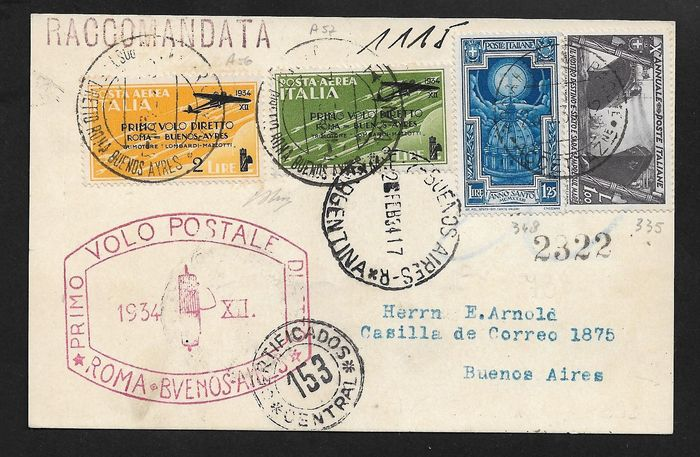 Italy Kingdom - Flight Rome-Buenos Aires airmail L. 2 + L. 3 + complementary pieces on registered postcard.