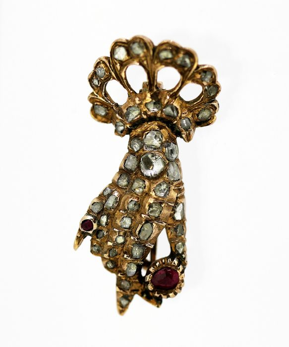 Victorian - 15 kt. Gold - Brooch Ruby - Diamonds