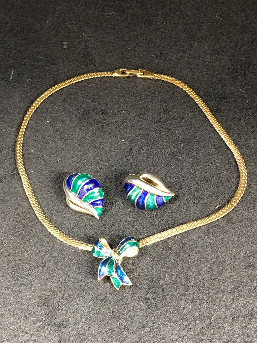 Gold-plated - D'Orlan Blue green enamelled earrings necklace