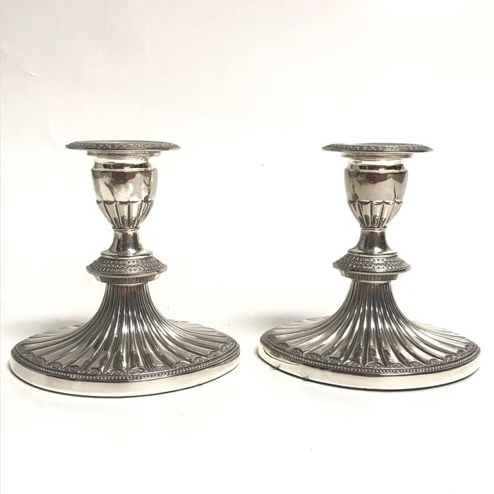 Candlestick (2) - Silver plated - U.K. - mid 20th century