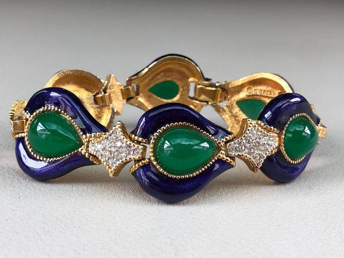 Gold-plated - D'Orlan Rare enamelled and jewel Cabochon set bracelet