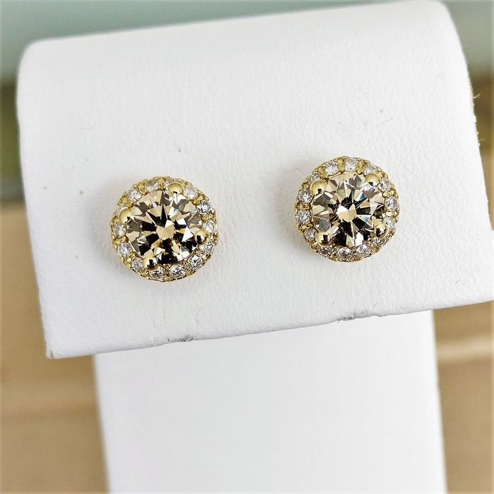 18 kt. Yellow gold - Earrings - 1.27 ct Diamond - Diamonds, with GIA report
