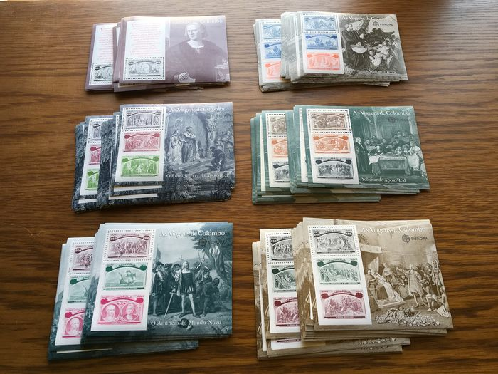 Portugal 1992 - Columbus series. 40 complete sets. 240 miniature sheets in total - Mundifil 2082/2087