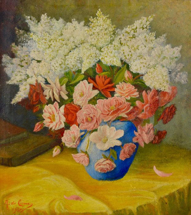 R De Cooman (20th century) - Still life of A vase of flowers