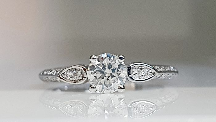 14 kt. White gold - Ring - 0.67 ct Diamond - No Reserve F/VS2