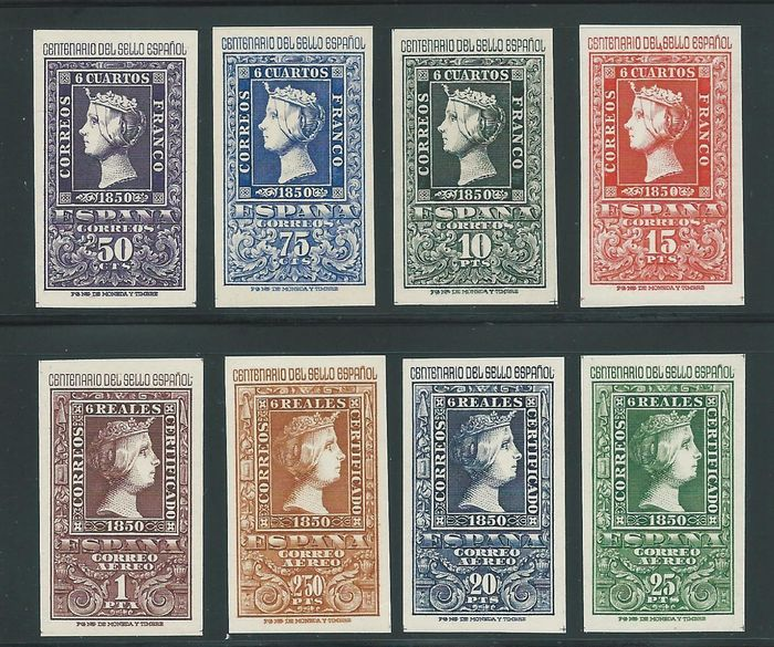 Spanje 1950 - Centennial of Spanish Stamps complete series - Edifil 1075/82