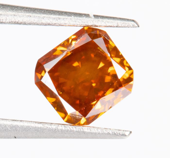 Diamant - 0.36 ct - Naturel Fantaisie VIVID Orange - SI1  *NO RESERVE*