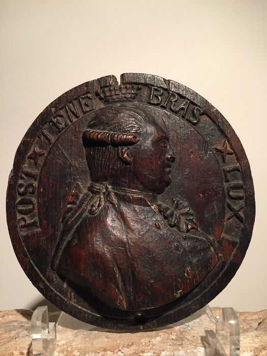 Relief, portrait of Victor-Amédée III (1726-1796) with devise of Geneva: POST TENEBRAS LUX  - Oak - Late 18th century
