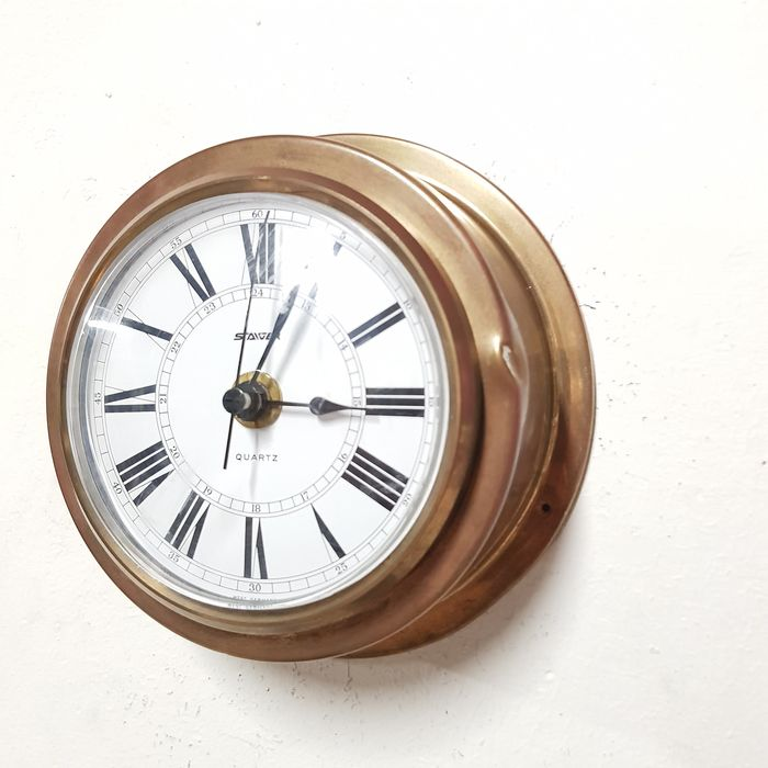 Staiger - Ship's Clock - Quartz Movement - Mid-Century Modern - Brass, Glass