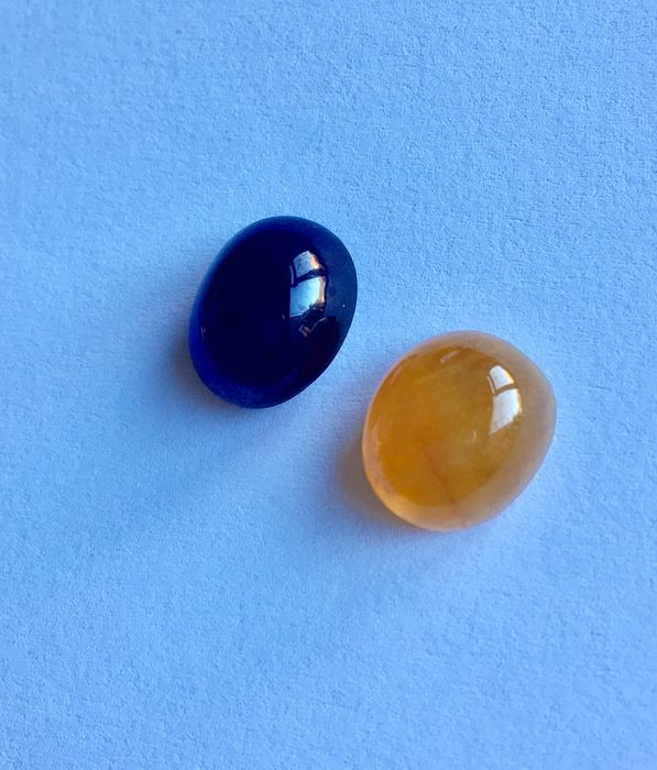 2 pcs Violetish Blue and Yellow Sapphire - 28.60 ct