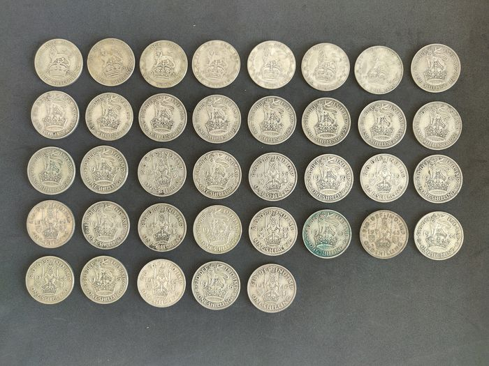 Great Britain - Shillings  1920/1946 (37 pieces)  - Silver