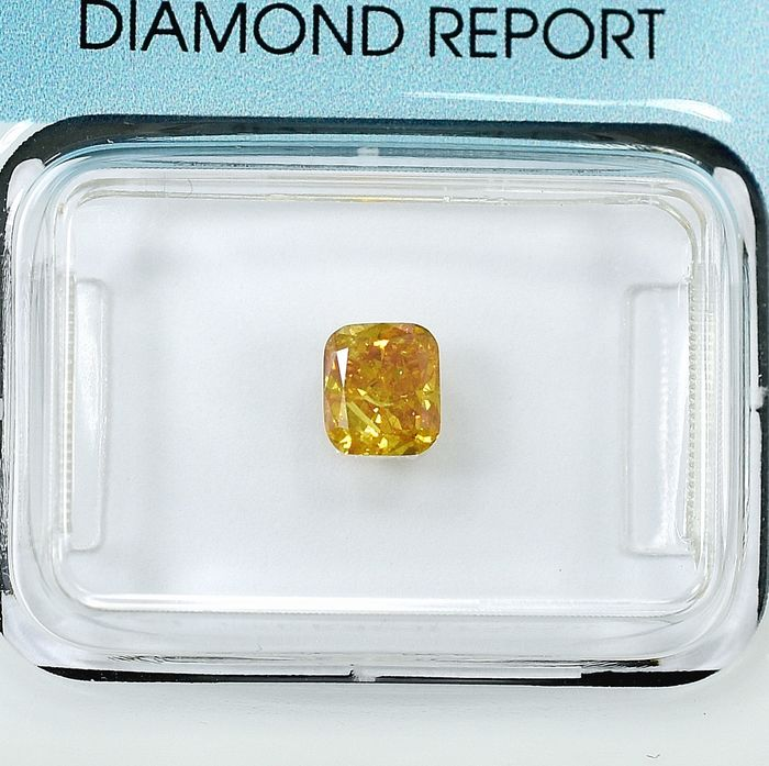 Diamant - 0.53 ct - Coussin - Natural Fancy Orangy Yellow - I1