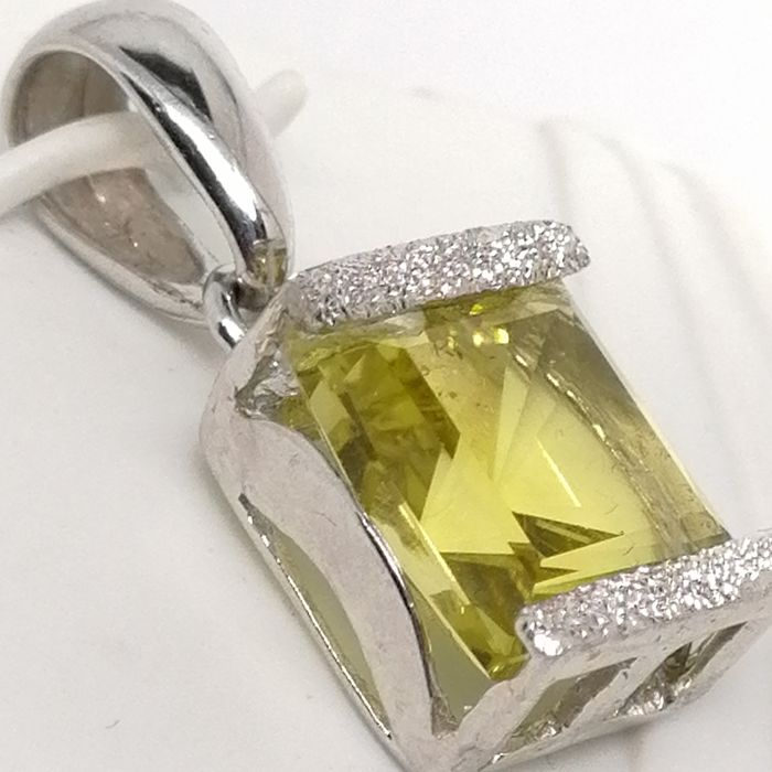 18 carats Or - Pendentif - 4.30 ct citron quarz