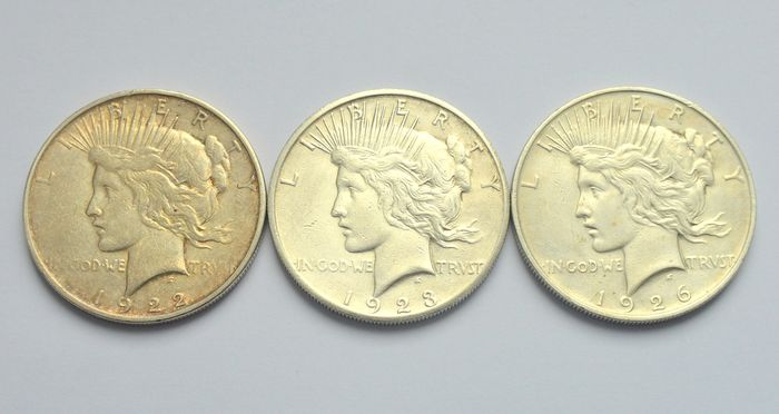 USA - Peace Dollar 1922, 1923 S, 1926 D (3 coins) - Silver