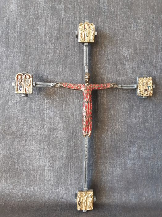 Crucifix - Enamel, Gilt, Steel