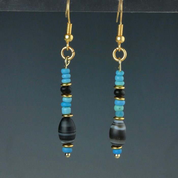 Ancient Roman Glass Earrings with turquoise glass and stone beads - (1)