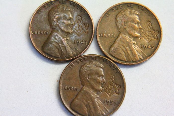 3 masonic penny on cents 1945 - 1947 - 1955 - Bronze - Catawiki