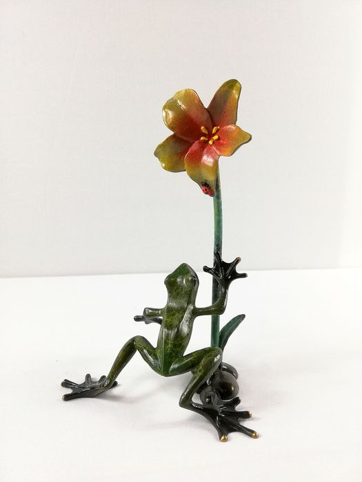 Sculpture - Bronze - Tropical frog - South Africa