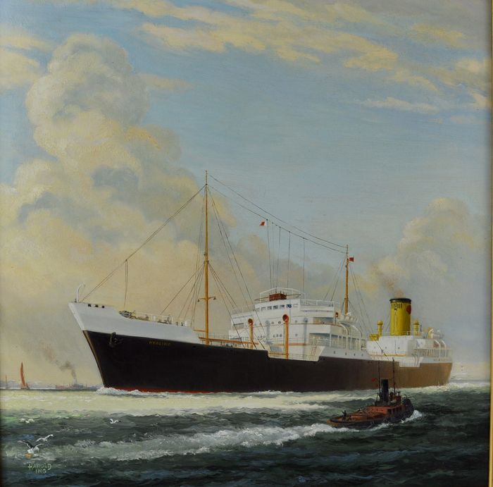 Harold Ing (b. 1900) - A portrait of the cargo ship SS Hyalina