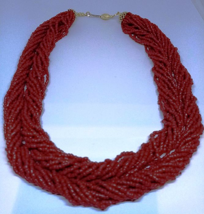 18 carats Or jaune - Collier Corail rouge sarde, beau collier