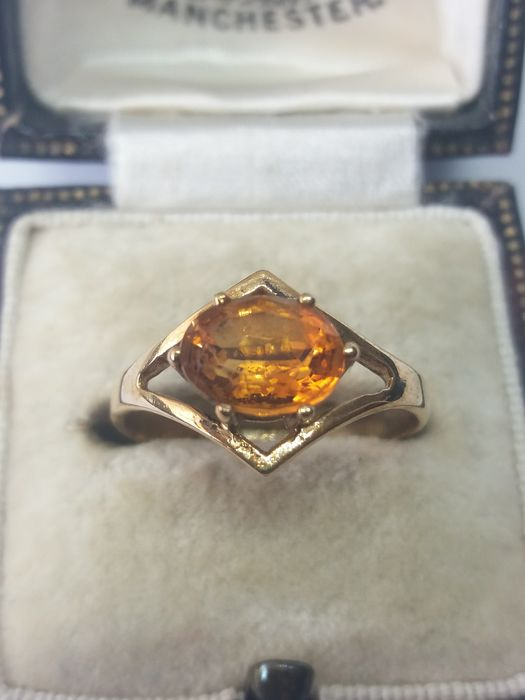 375 Yellow gold - Retro natural orange Citrine Solitaire gold ring - 0.80 ct