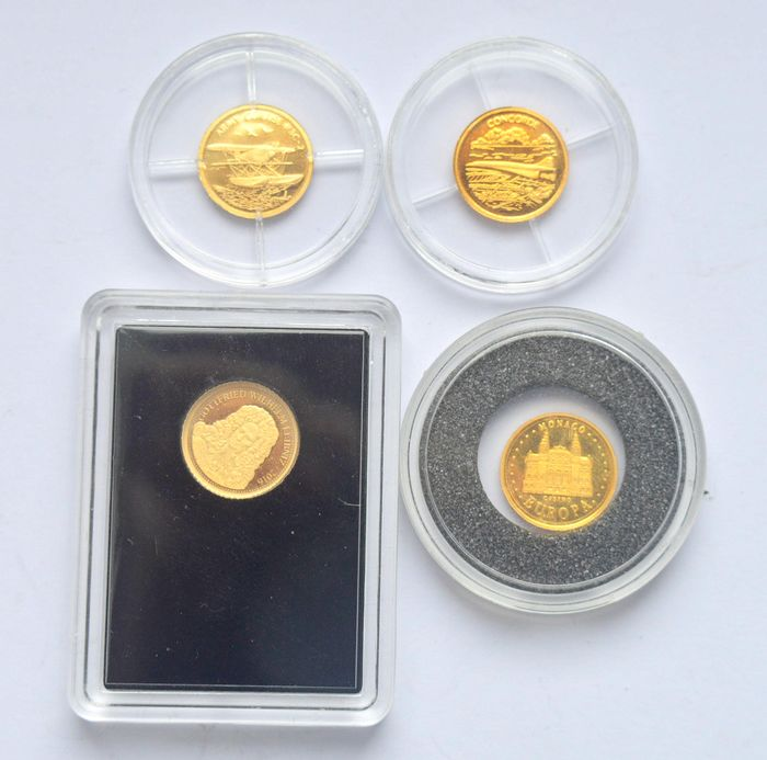 World - Lot of 4 coins/medals (France, Monaco, Samoa) - Gold