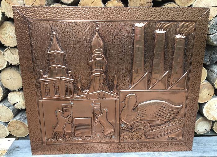 Red copper relief painting / panel (1) - Copper, Wood