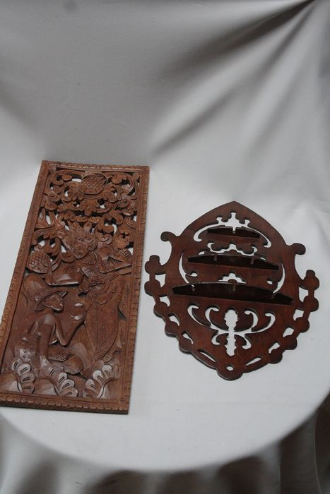 Wood carving wall panels hand carved (2) - Wood