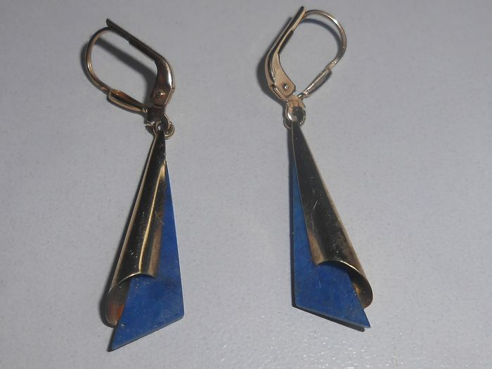 14 kt. Yellow gold - Earrings Lapis lazuli