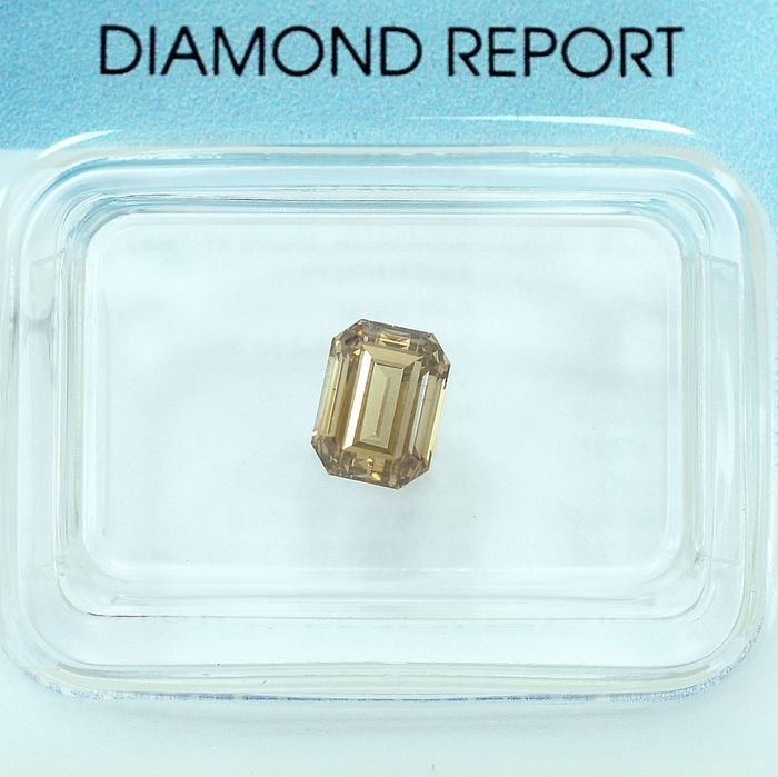 Diamant - 0.80 ct - Smaragd - Natural Fancy Brown (Champagne) - VS2 - NO RESERVE PRICE