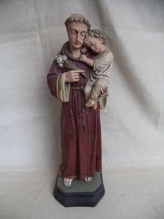 Saint Anthony of Padua with child - Plaster
