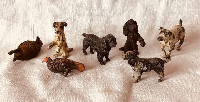 Three Austrian Vienna Bronze Animals, three Nuremberg Lead animal and another (7) - Bronze (cold painted), Lead - Circa 1920