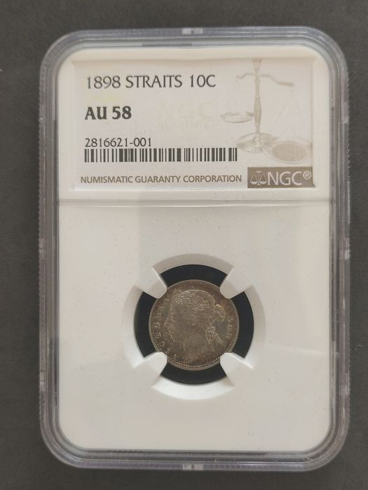 Straits Settlements - 10 Cents 1898 Victora in NGC Slab - Silver