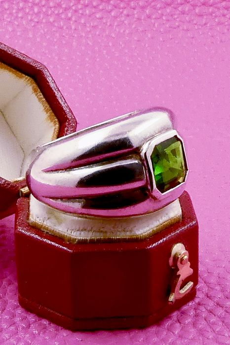 Retro 1940s Russian tank style - 925 Silver - Ring - 2.05 ct Diopside