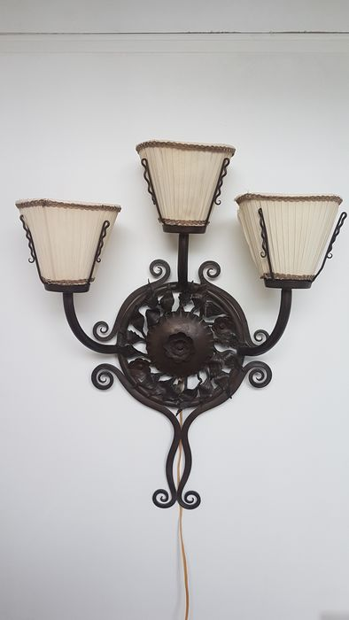 3-light Amsterdam school wall lamp