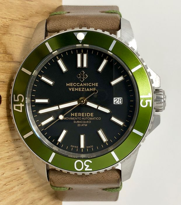Meccaniche Veneziane - Automatic Diver Watch Nereide 3.0 Green Bezel - 1202005 - Men - BRAND NEW