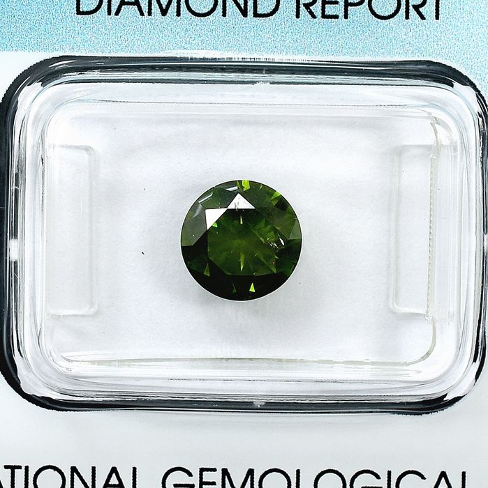 Diamant - 1.50 ct - Brillant - Fancy Intense Green - I1 - Treated color - NO RESERVE PRICE
