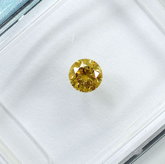 Diamant - 0.21 ct - Brillant - Natural Fancy Intense Brownish Yellow - Si2 - NO RESERVE PRICE