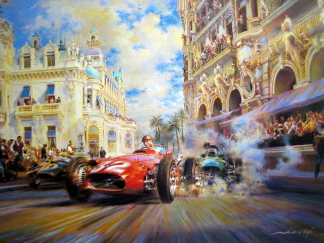 "Fine Art Print ""Dicing At Casino Square"" - Maserati 250F/Juan Manuel Fangio - Vanwall/Tony Brooks - Monaco Grand Prix - 1957"