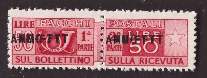Triëst - Zone A 1950 - 50 Lire Postal parcels with double overprint - Sassone N. 21b