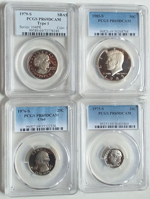 USA - 10 cents , 25 cents, 1/2 Dollar and Dollar 1975/1985-S (4 monedas) in PCGS Slabs