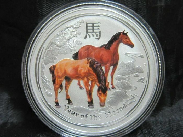 Australia. 1 Dollar 2014 - Year of the Horse - Colorized -1 Oz