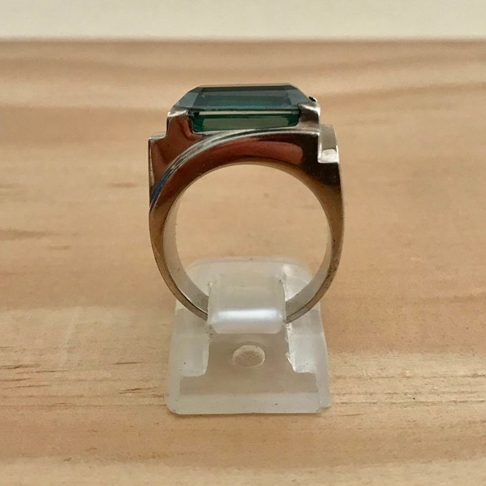 Stamped silver and glass - Ring