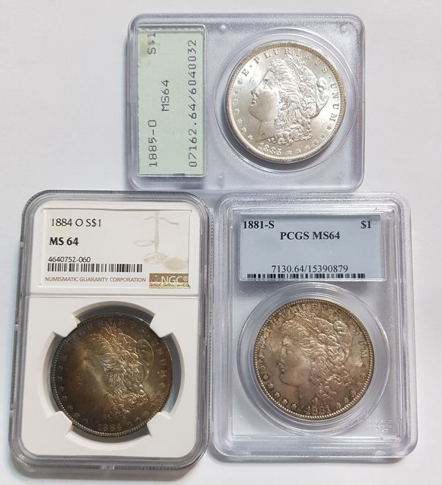 USA - Dollars (Morgan) 1881-S + Dollar 1884-O + 1885-O (3 coins) in Slabs - Silver
