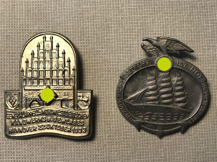 "Germany - Badge / Tinnie / ""Hannover 1933"" and ""Seafaring 1935"" - Award"