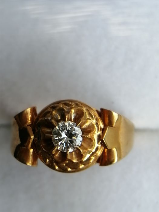 18 kt. Yellow gold - Ring - 0.30 ct Diamond