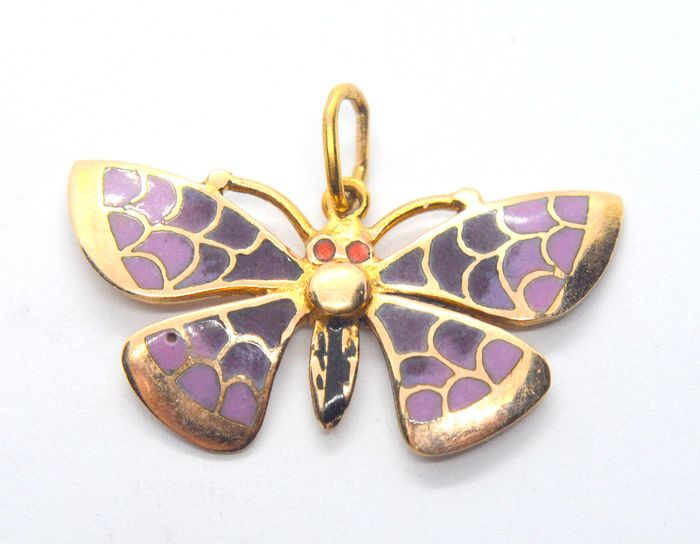 14 kt. Yellow gold - Butterfly enameled pendant