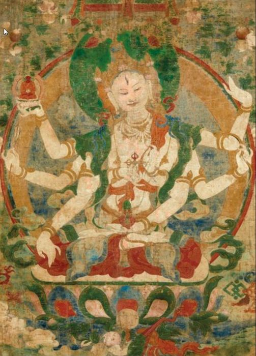 Thangka - Trempé sur toile - A rare and high quality tangka of Three heads and eight arms Ushnishavijaya - Tibet - Fin du 17ème siècle - début du 18ème siècle